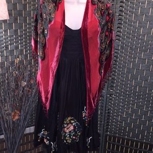Gorgeous Silk Embellished Dress & Shawl